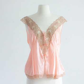 Untie Me. 40's Bedroom Blouse MED/LG. Peach Pink Lace / Vintage Negligee. Bridal Trousseau. Gatsby, Art Deco, 20's Style. Romantic Boudoir