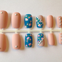 Rose Hand Painted Details Pink Blue Studded Press On Fake Nails False Nails