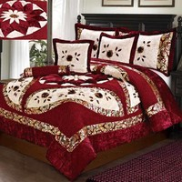Tache 4-6 PC Floral Red North Star Luxury Patchwork Comforter Set (ZC1020)