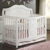Storkcraft Princess 4-in-1 Fixed Side Convertible Crib in White FREE SHIPPING