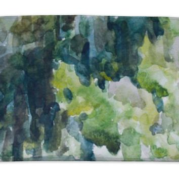 Bath Mat, Green Forest Watercolor Painting