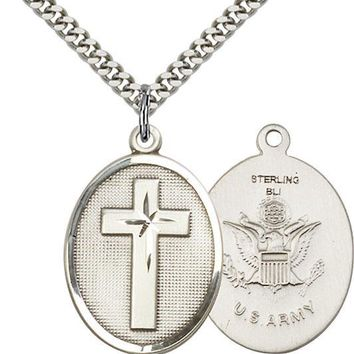 925 Sterling Silver Cross Army Military Soldier Catholic Medal Necklace