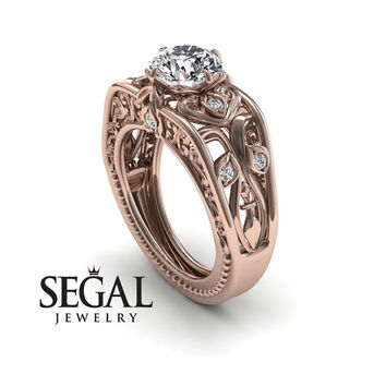 Unique Engagement Ring Diamond ring 14K Red Gold Art Deco Ring Filigree Ring White diamond - Skyler