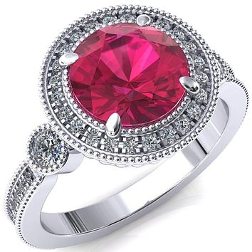 Brachium Round Ruby 4 Claw Prong Diamond Halo 3/4 Micro Channel Engagement Ring
