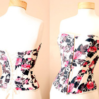 Moulin Rouge Floral Bustier Corset with Laced Back by PYTboutique