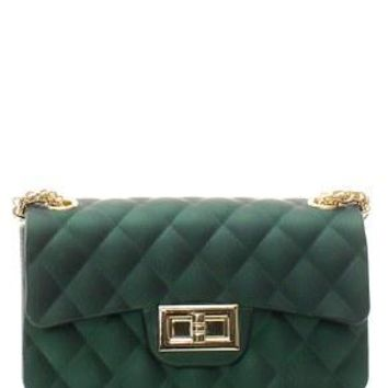 Green Quilted Patent Messenger Bag
