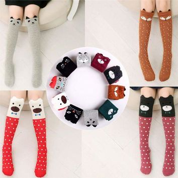 DCCKIJ2 Sock Print Animal Cotton Baby  Knee High Long Socks
