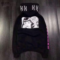 """Supreme"" casual letter print long sleeve hooded pullover pullover sweater top sweater"