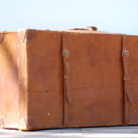 French very  large brown leather suitcase dating fifties