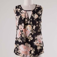 Black Floral Cut Out Sleeveless Top