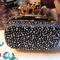 Skull Knuckle Rings Rhinestone Clutch Bling Box Party Evening Handbag