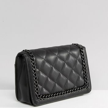 ASOS Diamond Quilt Cross Body Bag With Chunky Chain Handle at asos.com