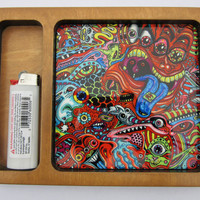 Psychedelic Weed Rolling Tray Manufactured and Printed in California