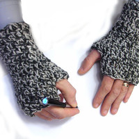 Gray crochet armwarmers for men, fingerless mittens, fingerless gloves, alpaca and wool blend