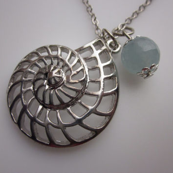 Nautilus Shell Necklace with Aquamarine Stone