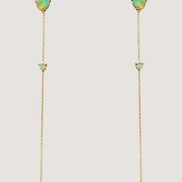 two stone drop earrings, gold & opal