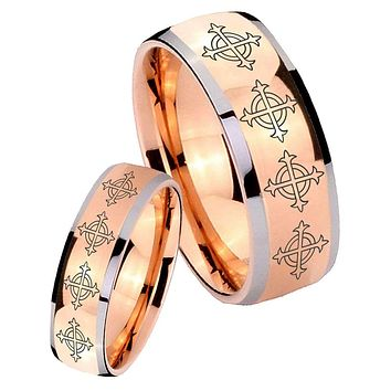 His Hers Rose Gold Dome Multiple Cross Two Tone Tungsten Wedding Rings Set