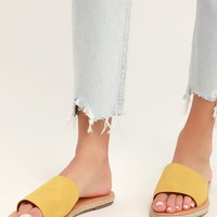 Marnie Yellow Suede Espadrille Slide Sandals
