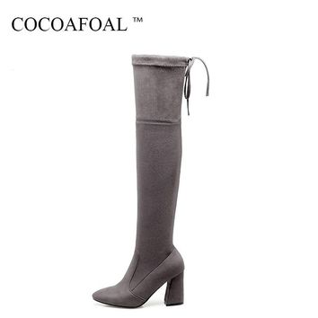 COCOAFOAL Women's Black Butterfly Knot Thigh High Boots Sexy Winter Plus Size Red High Heel Shoes Apricot  Over The Knee Boots