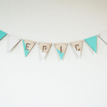 EPIC - dip dyed blue & white wood cool modern minimalist hipster pennant bunting banner retro flags