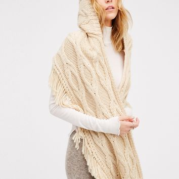 Free People Cable Fringe Hooded Scarf