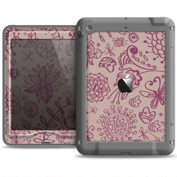 The Puprle and Light Pink Sketched Lace Patterns v21 Apple iPad Air LifeProof Nuud Case Skin Set