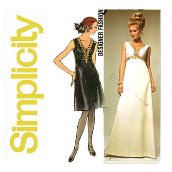 1970s Evening Dress Pattern Bust 38 Simplicity 9064 High Waist A Line Maxi Cocktail Dress Designer Fashion Mod Womens Vintage SEwing Pattern