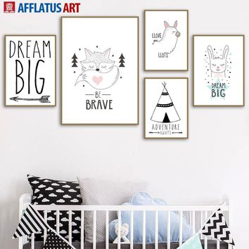 Cartoon Fox Rabbit Tent Wall Art Canvas Painting Posters And Prints Nordic Poster Animals Wall Pictures Kids Room Girl Boy Decor