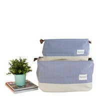 Drawstring Top Blue Linen Storage Box with Handles (Set of 2)