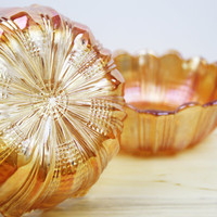 Carnival Glass Bowls, Orange Glass, Art Deco Home, Marigold Carnival Glass, Dressing Table Glass, Small Bowls, Jewellery Storage - 1920's