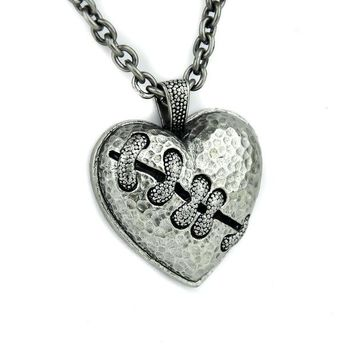 ac spbest Silver Stitch Heart Necklace Broken Eternal Love Gift Pendant