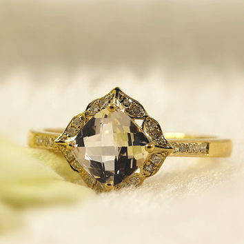 Floral  Dainty Ring 7MM Cushion Cut Pink Natural Morganite Engagement Ring Diamond Halo Ring  in 14k Yellow Gold