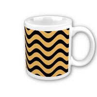 Beeswax Color And Black Waves Patterns Coffee Mug