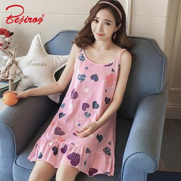 Bejirog Cartoon Cotton Sleepshirts Sleeveless Sleepwear Sexy Lingerie Pijamas Female Nightgowns Nightdress Women Nighties Summer