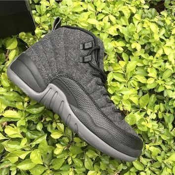 Air Jordan 12 Retro Wool Dark Grey/metallic Silver Black Aj12 Sneakers