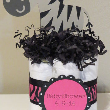 Zebra Mini Diaper Cake Centerpieces for baby shower or gift