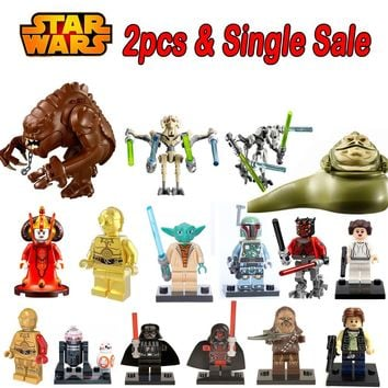 Star Wars General Grievous Jabba Queen Padme Amidala C3PO Darth Vader legoings Yoda Han Solo lepin Building Blocks Kids Toys