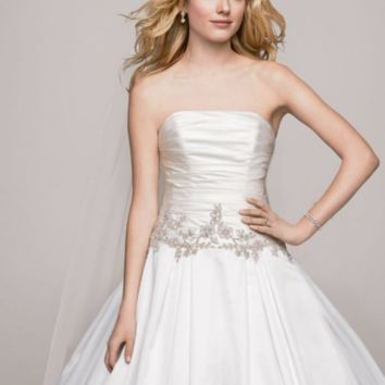 Strapless Satin Ball Gown with Beaded Accents - Davids Bridal
