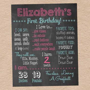 Chalkboard Birthday Information Poster- Customized Poster with your child's information. Great Photo Prop, Decoration & Keepsake!!
