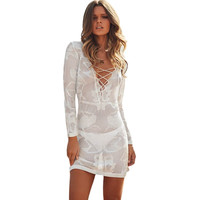 Summer Dress Robe De Plage White Long Sleeve Lace Cross Front Knitted Swimsuit CoverUp Tunic Beachwear Women Beach Tunic A41124