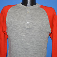 80s Gray Red Henley Hunting Undershirt t-shirt Medium
