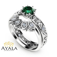 1/2 CT Natural Emerald Engagement Ring Set  14K White Gold Rings Emerald Engagement Rings Choose Your 1/2 CT Gemstone Ring