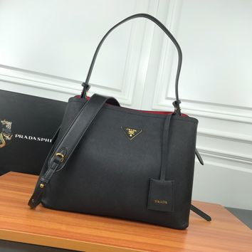 HCXX 19June 513 Prada Saffiano Leather Remove shoulder straps Fashion Shopping Bag Handbag black