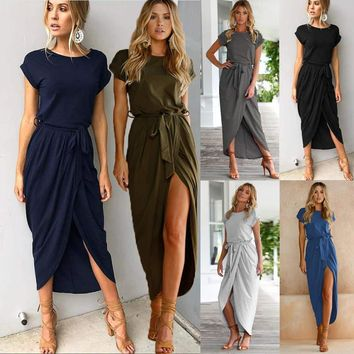 Tie Waist Bandage Dresses Front Split Dress Solid Color Short Sleeve Irregular Dresses Summer Women Clothes Clothing Drop Ship 220099