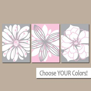 PINK GRAY Nursery Wall Art, Baby Girl Nursery Decor, Flower Girl Bedroom Pictures, CANVAS or Prints, Home Decor, Bathroom Art, Set of 3