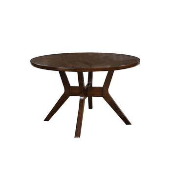Abelone Mid-Century Modern Round Dining Table, Walnut