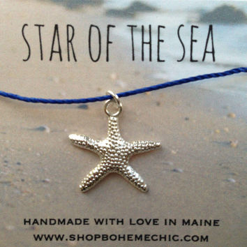 Silver Starfish Charm Necklace