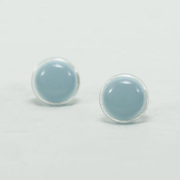 Pastel Blue Stud Earrings 12mm - Baby Blue Earrings - Pale Blue Round Modern Earring Studs - Hypoallergenic Surgical Steel Post Earrings