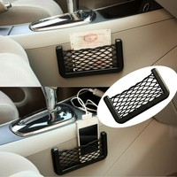 Car Trunk Storage Net Resilient String Bag GPS Phone Holder Pocket Organizer (15x8cm)
