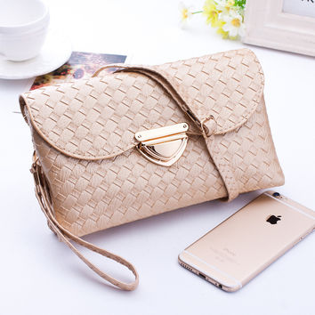 Womens Clutch Bags and Purses Fashion Quilted Knitting Hasp Shoulder Bags Women Weave Wallet Evening Party Handbags